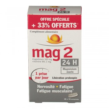 MAG 2 24H COMPRIME LIBERATION PROLONGEE 45CPR +15 cpr offerts