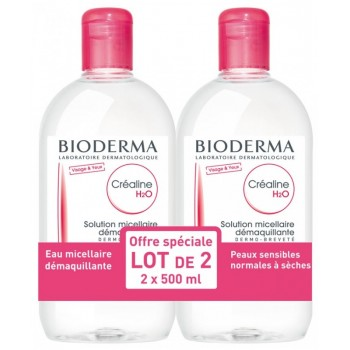 BIODERMA CREALINE H2O 500 ML SANS PARFUM LOT DE  2