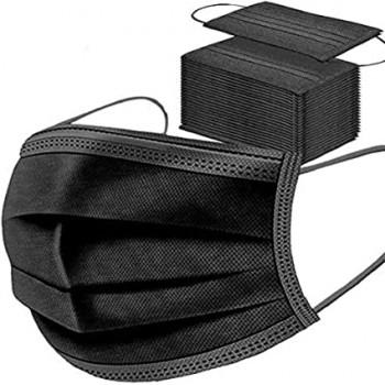 Masque chirurgical 3 plis Type 2R- Noir - Boîte de 50 masques